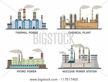 Set of vector industrial flat illustration of different types of power plants. Conception of making