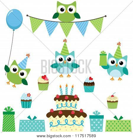 Party owls blue set