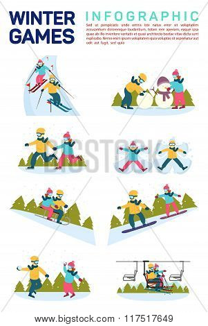 Vector flat illustration infographic of winter snow sport games. Skiing, making snowman, skating, an