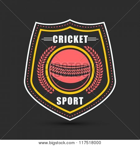 Creative sticker, tag or label design with illustration of ball for Cricket Sports concept.