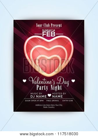 Beautiful creative heart decorated, Pamphlet, Banner or Flyer design for Valentine's Day Party Night celebration.