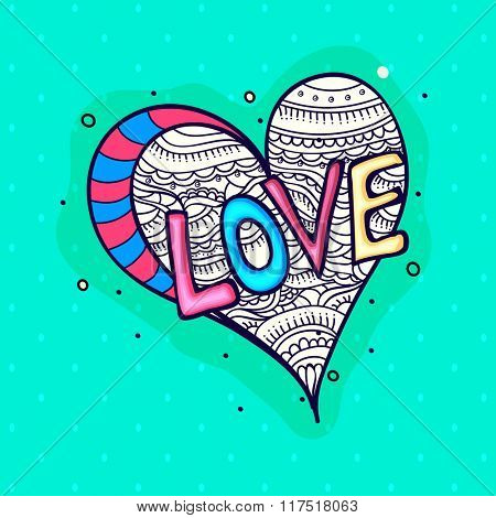 Colorful text Love with floral design decorated heart for Happy Valentine's Day celebration.