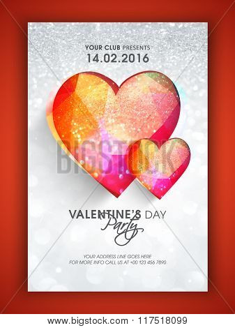 Creative colorful hearts on silver glitter background, Beautiful Pamphlet, Banner or Flyer design for Valentine's Day Party celebration.