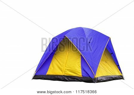 Isolated Blue And Yellow Dome Tent