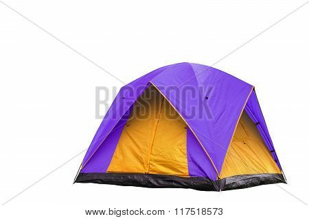 Isolated Purple And Yellow Dome Tent