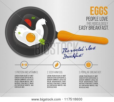 Vector chicken egg fried in a pan. Infographics about the worlds popular breakfast. Scrambled egg il