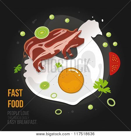 Concept chicken (omelet) - egg and bacon pork. Natural fresh egg with fried bacon in a flat style. I