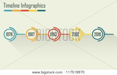 Timeline Infographics template with shadow. Horisontal design elements. Colorful vector illustration