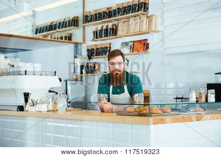 Serious attractive barista with beard and moustache standing in coffee shop