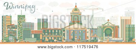 Abstract Winnipeg Skyline with Color Buildings. Business Travel and Tourism Concept with Modern Buildings. Image for Presentation Banner Placard and Web Site.