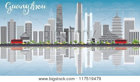 Guangzhou Skyline with Gray Buildings, Blue Sky and Reflections. Business Travel and Tourism Concept with Modern Buildings. Image for Presentation Banner Placard and Web Site.