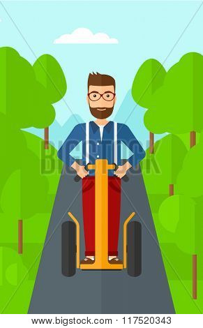 Man riding on electric scooter.