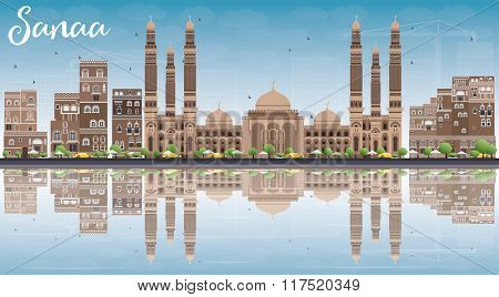 Sanaa (Yemen) Skyline with Brown Buildings, Blue Sky and Reflections. Business Travel and Tourism Concept with Historic Buildings. Image for Presentation Banner, Placard and Web Site.