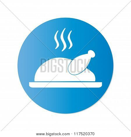 Cooked chicken or roasted turkey ready for Thanksgiving. Vector icon or sign.