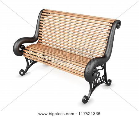 Park bench isolated on white background. 3d rendering