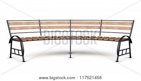Park bench arc on a white background. 3d render image