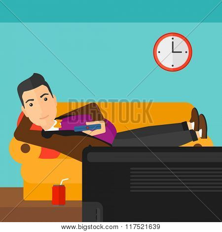 Man lying on sofa.