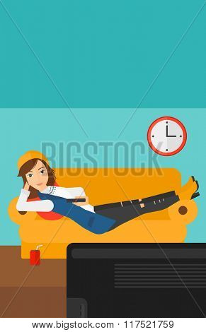Woman lying on sofa.