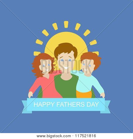Father with kid in Father's Day background
