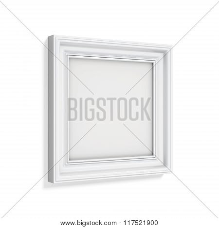 Square picture frame isolated on white background. 3d rendering