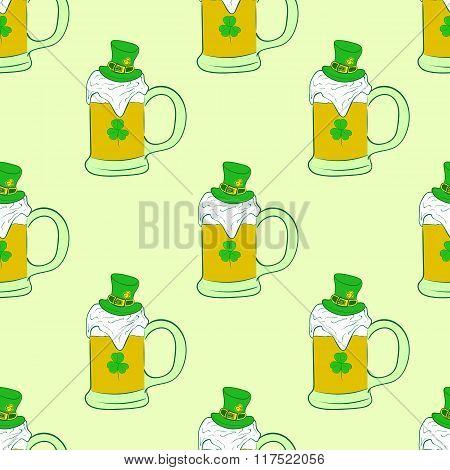 Seamless mugs with Saint Patrick's beer