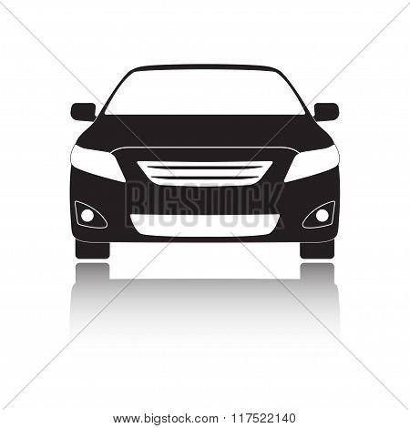 Car front icon or sign. Black vehicle silhouette isolated on white background. Vector illustration.