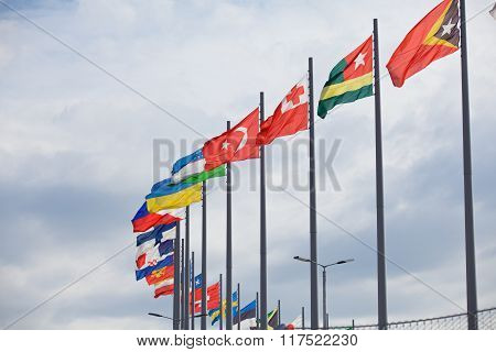 Flags flutter over Sochi Autodrom. Russian Grand Prix