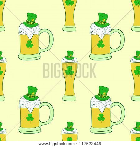 Seamless beer in glasses and mugs
