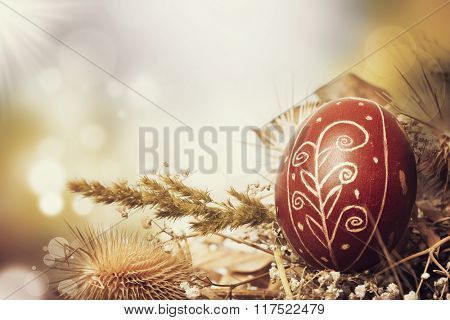 Easter background with red eggs