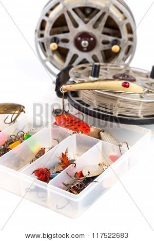 Fishing Lure In Storage Box And Lading Reels
