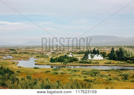 Icelandic landscape, country houses and rural life