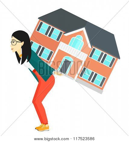 Woman carrying house.