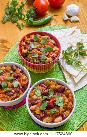 Delicious Mexican Vegan Bean Chilli