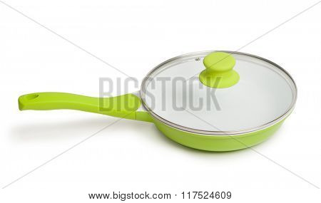 Frying pan with glass cover isolated on white background