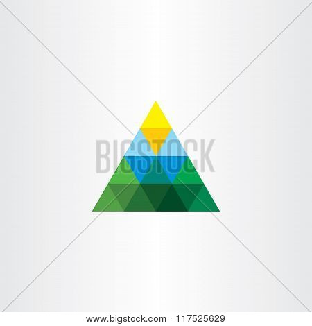 Triangle Landscape Logo Mountain Sun Vector
