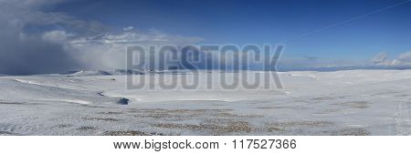 Sarannoe Frozen Lake On Bering Island Sunny Day
