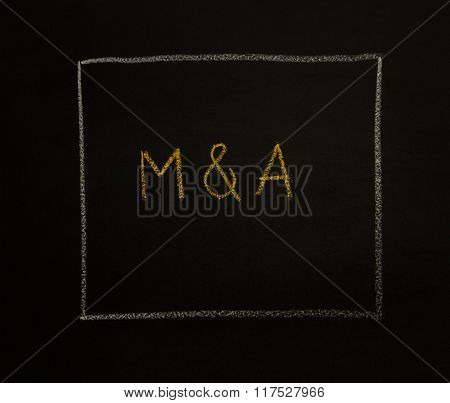 M & A Letters (or Merger And Acquisition) On Black Background.