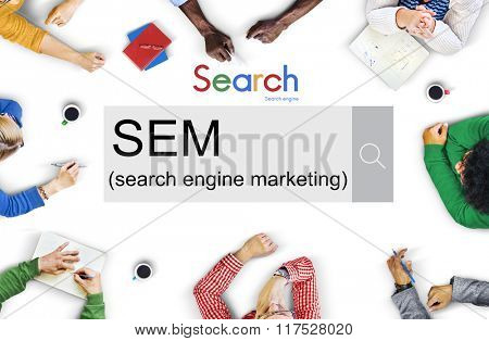 SEM Search Engine Marketing Business Strategy Concept