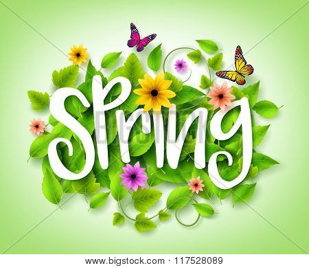 Spring Title Text with Vector Green Leaves in the Background