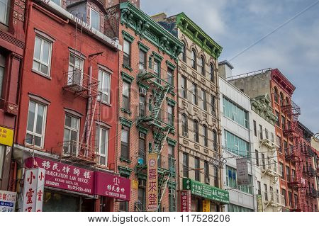Apartment Buildings And Shops In Chinatown, Manhattan