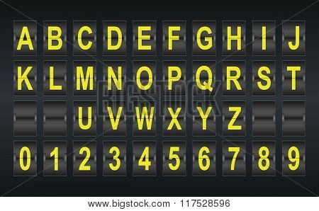 Alphabet In Airport Arrival And Departure Display Style Template.