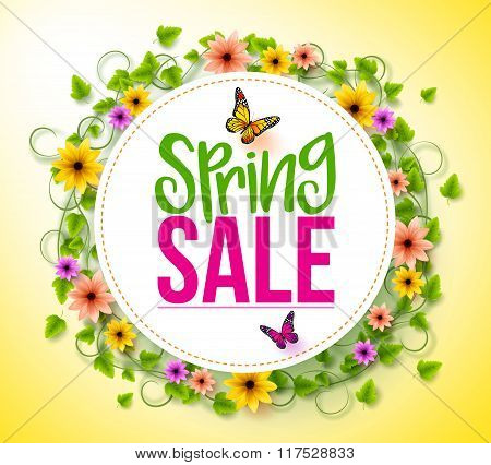 Spring Sale in a White Circle with Wreath of Colorful Flowers