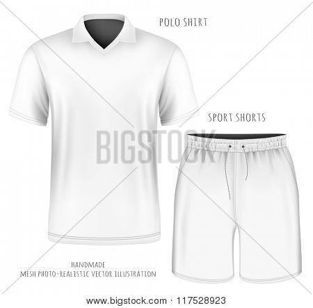 Men's short sleeve white polo shirt and sport shorts. Vector illustration. Fully editable handmade mesh