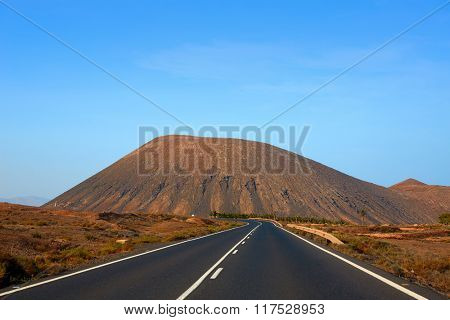 Tindaya road with mountain Fuerteventura at Canary Islands of Spain
