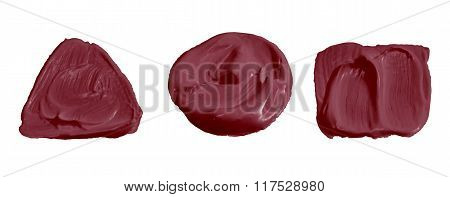 Burgundy Red  Color Paint Isolated On White