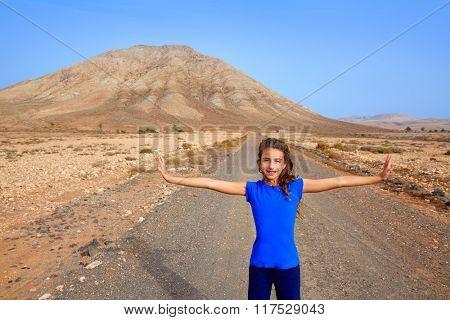 Fuerteventura girl in Tindaya mountain at Canary Islands of Spain