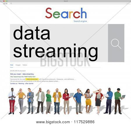 Data Streaming Computer Connection Download Concept