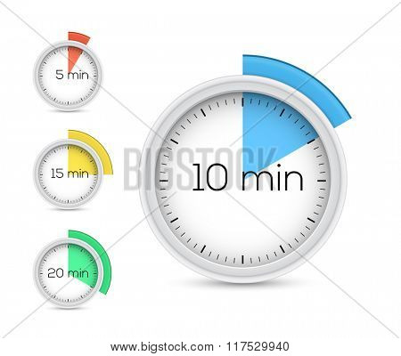 Collection of timers. Vector illustration