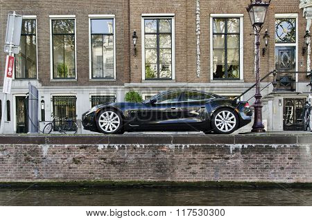 Tesla Electric Car Parked In Amsterdam Holland