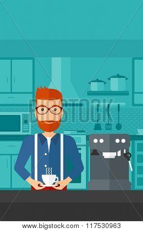 Man making coffee.